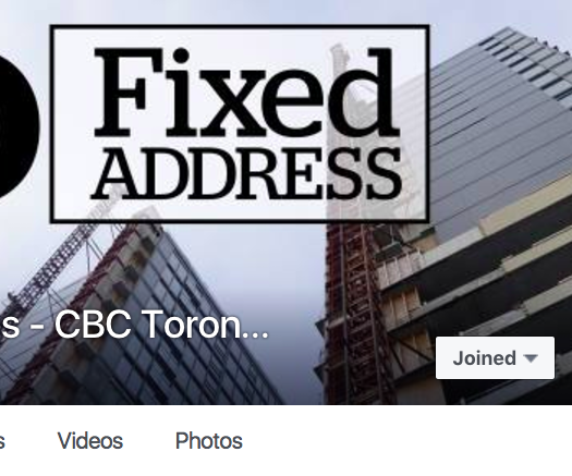 "Earlier this year, CBC Toronto created the group ""Toronto Housing Woes – CBC Toronto""  as part of the ""No Fixed Address"" feature. Screenshot by J-Source."