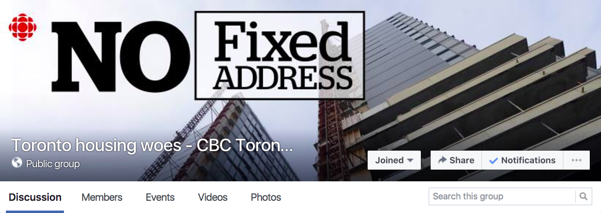 """Earlier this year, CBC Toronto created the group """"Toronto Housing Woes – CBC Toronto"""" as part of the """"No Fixed Address"""" feature. Screenshot by J-Source."""