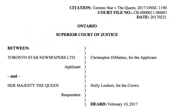 The judgement in the Toronto Star's initial fight against a production order issued against them.