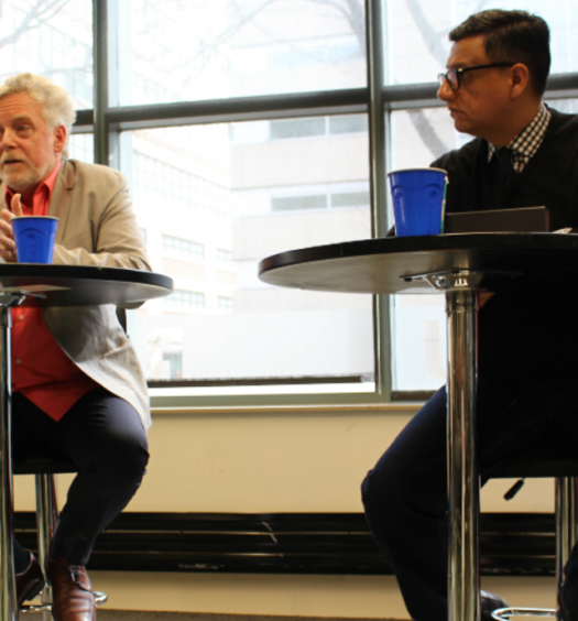 Documentary filmmaker James Cullingham and exiled Mexican journalist Luis Horacio Nájera were featured speakers on March 9, 2017, at a Ryerson University panel about attacks on journalists in Mexico. Photo courtesy of Jasmine Bala.