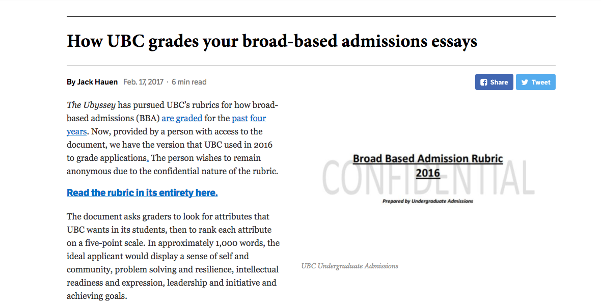 UBC student newspaper the Ubyssey fought for admission rubrics for four years before the documents were leaked to them. Screenshot by J-Source.