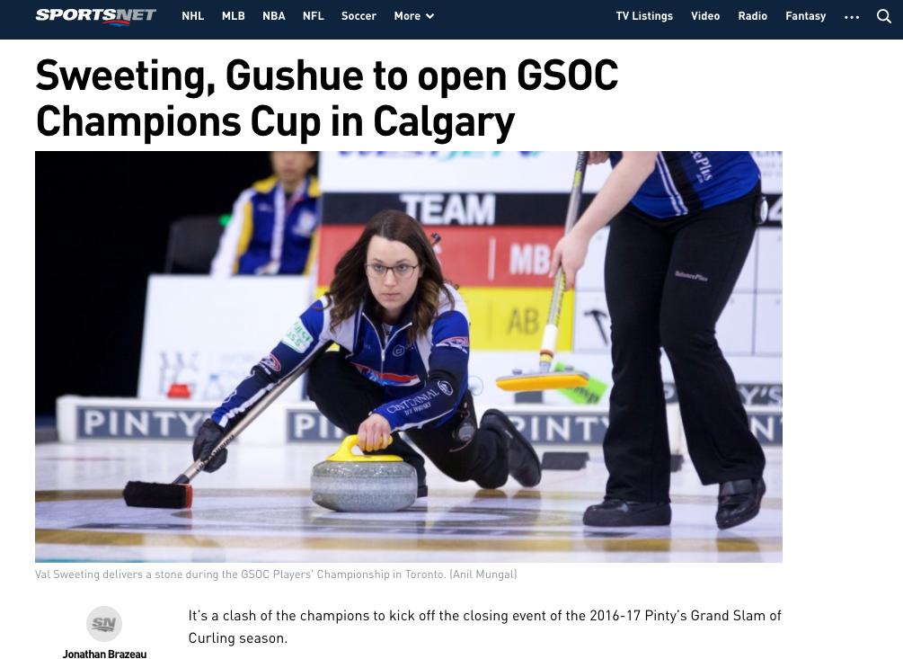 Jonathan Brazeau's coverage of curling on Sportsnet. Screenshot by J-Source.