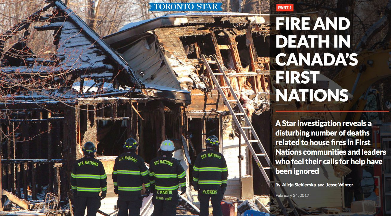 Alicja Siekierska and Jesse Winter's three part story on fires and deaths in Canada's First Nations communities. Screenshot by J-Source.