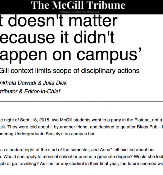 Shrinkhala Dawadi co-wrote and broke a story about an incident of physical assault at McGill, where administration did not sanction the perpetrator even after he was arrested and charged with assault causing bodily harm. Screenshot by J-Source.