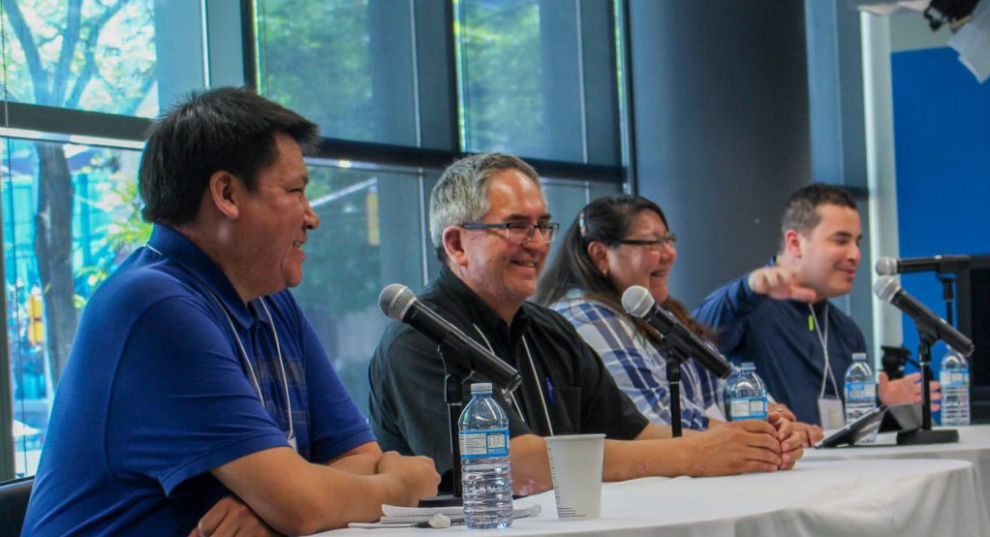 Lenny Carpenter, Wawmeesh Hamilton, Maureen Googoo and Michael Dick at the Ryerson School of Journalism June 4. Photo courtesy of Abby Plener.