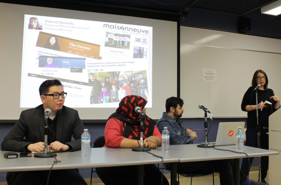 Steven Zhou, Chelby Marie Daigle, Ishmael Daro and Naheed Mustafa speak on June 4 panel moderated by Amira Elghawaby. Photo courtesy of Angela Long.