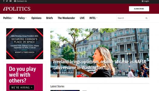 Torstar Corp. buying Ottawa-based political news website iPolitics Inc.