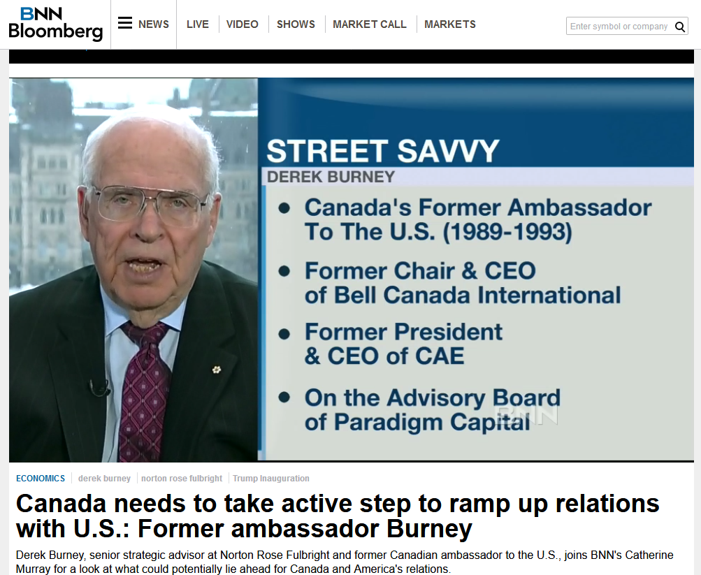 "Appearing on BNN Bloomberg on January 20, 2017, while a director of TransCanada, neither the network nor Burney disclose his TransCanada directorship nor his GardaWorld advisory position. In the course of the discussion, Burney says, ""There are a lot of other areas where Canada has mutual interest with the United States. I'm talking about security, I'm talking about energy, I'm talking about infrastructure."""