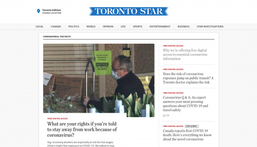 Toronto Star editor: Why we're offering free digital access to essential coronavirus information
