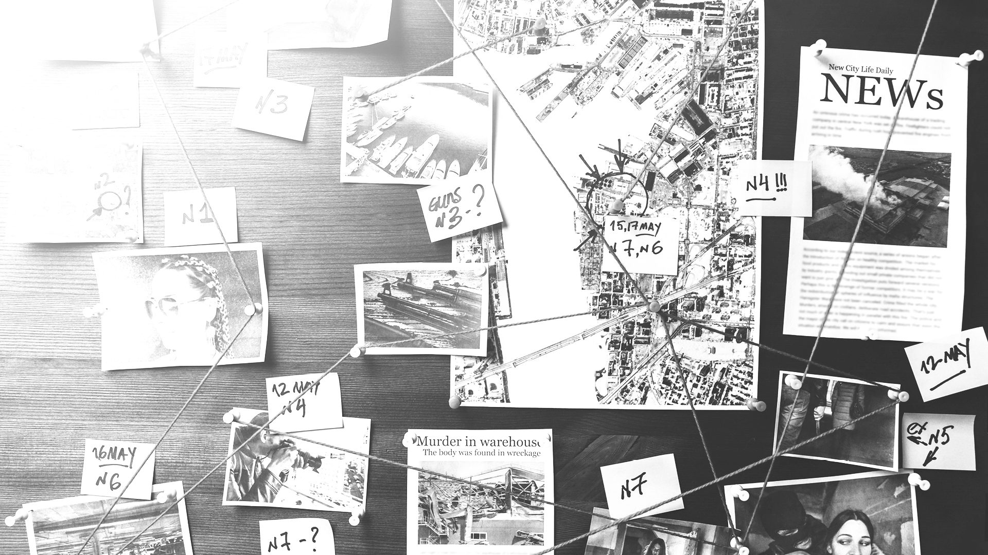 Image of a cork board with various images, sticky notes and articles on it and connected by strings.