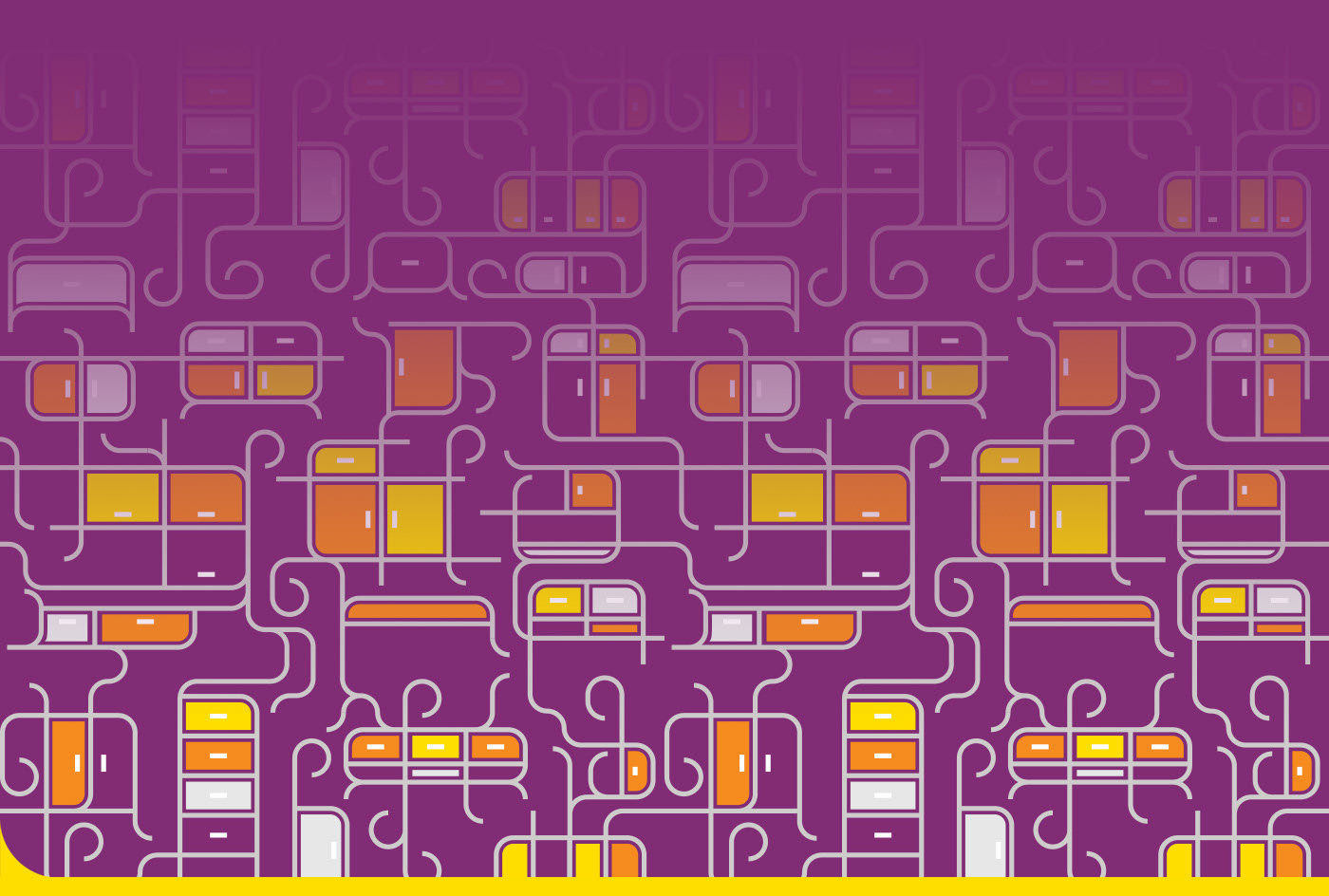 Abstract illustration of connected orange and yellow shapes on purple background.