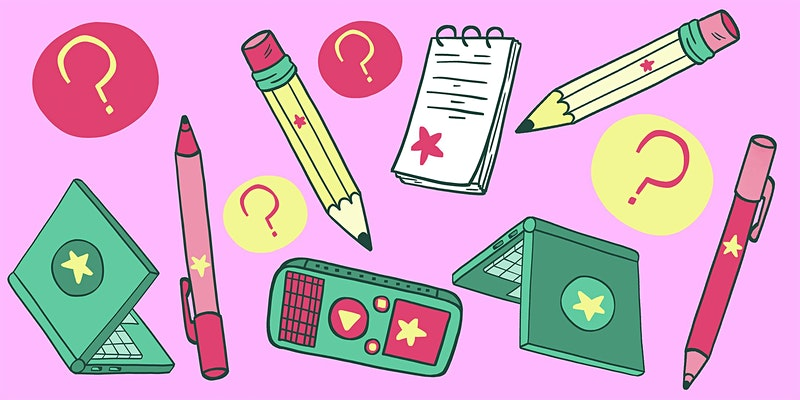 Illustrations of pencils, notebooks, question marks, a laptop and a cell phone on a bright pink background.